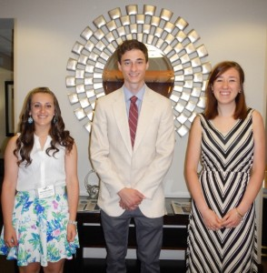 2014 Scholarship Recipients (Amanda Mina, Adam Calogeras, & Emily Delaney)