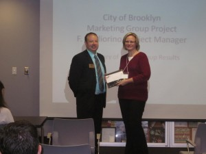 Cheryl Hardy with Brooklyn Reformed Church received her membership plaque at our luncheon on 9-11-14.  David Hill (Dollar Bank) is shown presenting the plaque.