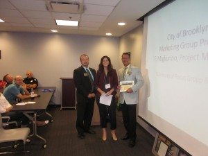 David Nodge with Cuyahoga County Board of Developmental Disabilities is honored as one of Northeast Ohio's Top Workplaces at our luncheon on 9-11-14.  Chamber President David Hill (Dollar Bank) and Brooklyn Council President Katie Gallagher, presented the certificates.
