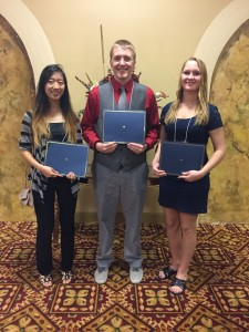 Fanny Huang, Shawn Zubek, & Samantha Newby, 2015 Scholarship Recipients