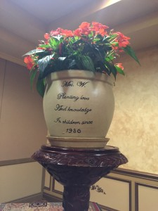 Personalized planter presented to Superintedent Cynthia Walker - personalization was done by a Brooklyn High School Senior