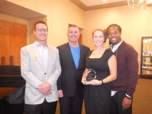 Chris Ellis, Chamber President, and David Nodge, Chamber Vice President, presented Jessica and Daniel Cliff with their Small Business Member of the Year award at our November 12th Holiday Social.